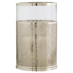 Coastal Beach Textured Nickel Glass Hurricane - 14.5H | Kathy Kuo Home