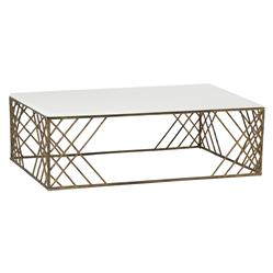 Coastal Sea Grass Antique Brass Coffee Table | Kathy Kuo Home