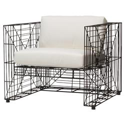 Cody Industrial Loft Charcoal Steel Outdoor Lounge Chair | Kathy Kuo Home