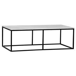 Coen Industrial Black Metal Outline White Stone Coffee Table | Kathy Kuo Home