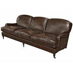 Colden Industrial Loft Dark Brown Leather Wood Sofa | Kathy Kuo Home