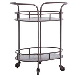 Cole Industrial Style Metal Small Oval Bar Cart | Kathy Kuo Home