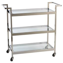 Collin Modern Classic Three Tier Polished Stainless Serving Cart | Kathy Kuo Home