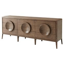 Collins Global Bazaar Quarter Oak Veneer Dished Handle Dresser | Kathy Kuo Home