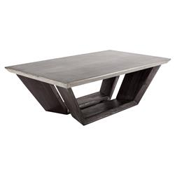 Colvin Industrial Loft Concrete Dark Wood Rectangular Coffee Table | Kathy Kuo Home