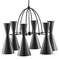 Conley Loft Mid Century Black Metal Shade Chandelier | Kathy Kuo Home