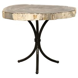 Cooper Industrial Loft Petrified Wood Black Metal Side End Table | Kathy Kuo Home