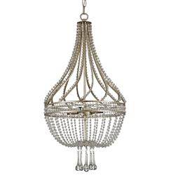 Cora Hollywood Regency Beaded Crystal Antique Silver Basket Chandelier