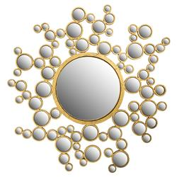 Cordelia Modern Classic Spherical Patterned Gold Mirror | Kathy Kuo Home