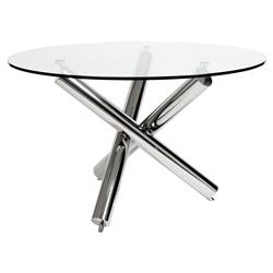 Corsica Modern Classic Polished Stainless Steel Round Glass Dining Table | Kathy Kuo Home
