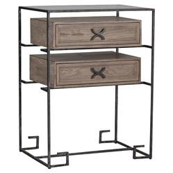 cort industrial rustic oak metal nightstand kathy kuo home