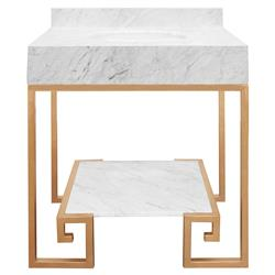 Corus Regency Greek Key White Marble Vanity Sink - Gold | Kathy Kuo Home