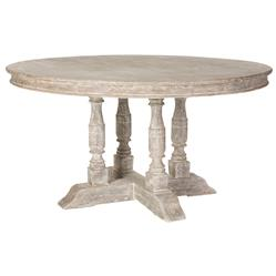 Roulette French Country Distressed Grey Outdoor Dining Table | Kathy Kuo Home