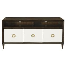 Crawford Caviar Regency White Leather Media Cabinet | Kathy Kuo Home