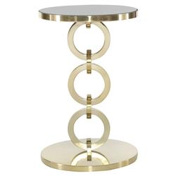 Crawford Hollywood Brass Ring Mirror Round End Table | Kathy Kuo Home