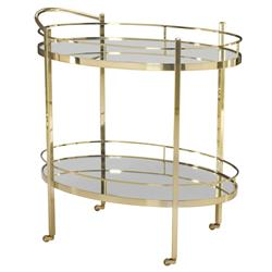 Crawford Hollywood Polished Brass Mirror Bar Cart | Kathy Kuo Home