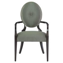 Crawford Hollywood Regency Grey Oval Polished Arm Chair - Pair | Kathy Kuo Home