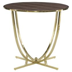 Crawford Hollywood Round Brass Croc Leather End Table | Kathy Kuo Home