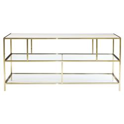 Crawford Hollywood White Leather Brass Console Cabinet | Kathy Kuo Home