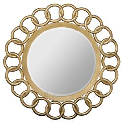 Crawford Regency Chain Link Gold Leaf Round Mirror | Kathy Kuo Home
