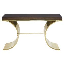 Crawford Regency Curved Brass Veneer Console Table | Kathy Kuo Home