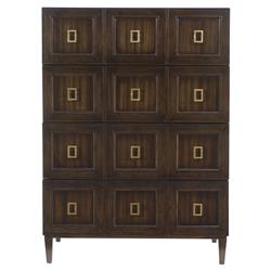 Crawford Regency Masculine Brass Veneer Tall Chest | Kathy Kuo Home