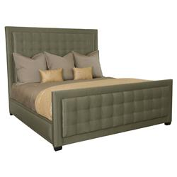 Crawford Regency Modern Grey Tufted Panel Bed - Queen | Kathy Kuo Home
