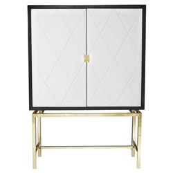 Crawford Regency Quilted White Leather Brass Bar Cabinet | Kathy Kuo Home