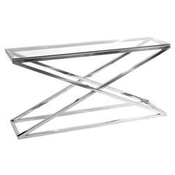 Criss Cross Modern Classic Glass Rectangular Console Table | Kathy Kuo Home