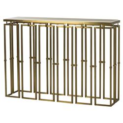 Croft Regency Brass Grid White Lacquer Console Table | Kathy Kuo Home