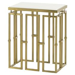 Croft Regency Brass Grid White Lacquer End Table | Kathy Kuo Home