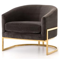 Crowley Hollywood Regency Brown Velvet Gold Arm Chair | Kathy Kuo Home