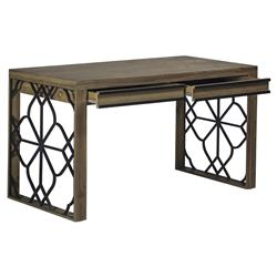 Custer Rustic Lodge Wrought Iron Flora Wood Desk | Kathy Kuo Home