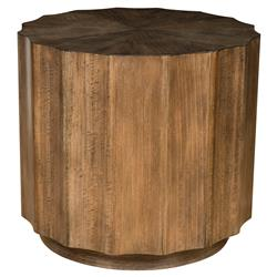 Cyprus Lodge Round Scalloped Brown Wood End Table | Kathy Kuo Home