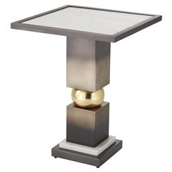 Da'Vonte Modern Classic Bronze Metal Pedestal Square White Marble Side Table | Kathy Kuo Home