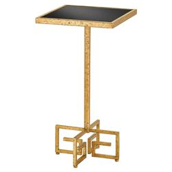 Dagmar Hollywood Gold Greek Key Black End Table | Kathy Kuo Home