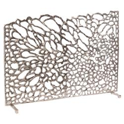 Dahlia Modern Classic Silver Floral Petal Fire Screen | Kathy Kuo Home