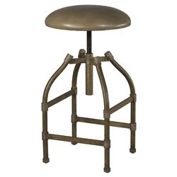 Dale Modern Classic Taupe Leather Iron Adjustable Bar Stool | Kathy Kuo Home