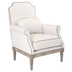 Damare French Coastal Grey Piped Ivory Armchair | Kathy Kuo Home