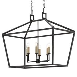 Darden Industrial Chic 6 Light Open Rectangular Lantern Pendant | Kathy Kuo Home