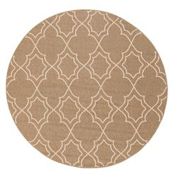 "Daria Fretwork Outdoor Taupe Hollywood Regency Rug - 7'3"" Round 