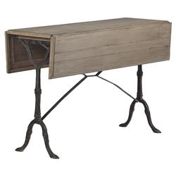 Darryl Rustic Cast Iron Oak Drop Leaf Table | Kathy Kuo Home