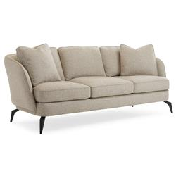 Dashiel Tailored French Modern Grey Textured Sofa | Kathy Kuo Home