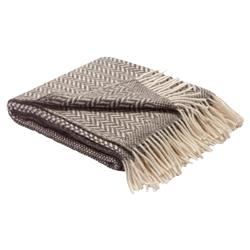 Dauby Linen Wool Grey Brown Herringbone Blanket | Kathy Kuo Home