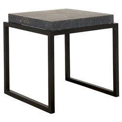 David Industrial Loft Square Black Marble Metal Side End Table | Kathy Kuo Home