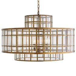 Dawson Hollywood Regency Brass Glass 5 Light Chandelier | Kathy Kuo Home