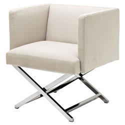 Dawson Modern Classic Stainless Steel Ivory Modular Club Chair | Kathy Kuo Home