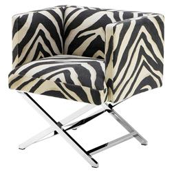 Dawson Modern Classic Stainless Steel Zebra Print Modular Club Chair | Kathy Kuo Home