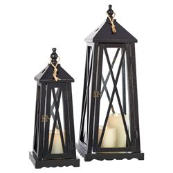 Dean Coastal Beach Antique Black Lighthouse-Inspired Lanterns - Set of 2 | Kathy Kuo Home