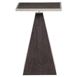 Dean Modern Masculine Brown Oak Silver Square Side End Table | Kathy Kuo Home